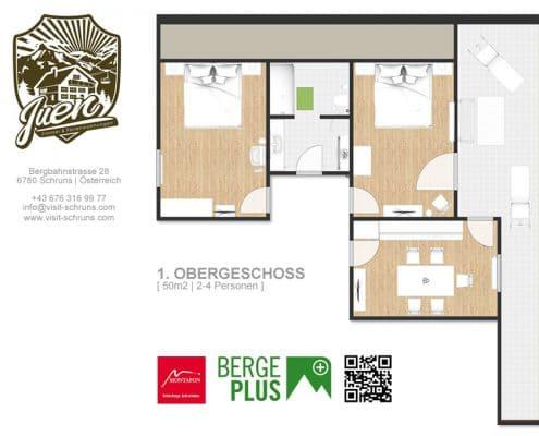 Skizze Ferienwohnung Schruns - 1. Obergeschoss | Feriendomizil Franz & Simone Juen